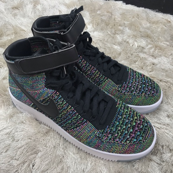 NWOB NIKE AIR FORCE 1 ULTRA FLYKNIT MID-BLACK PINK NWT